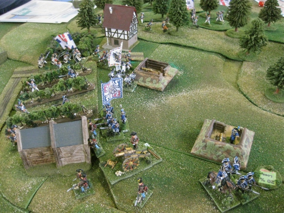 As the Sardinian La Marina battlaion flees from the French column advance, a brave Austrian IR #50 Stain battalion attempts a limited counterattack into the French column's flank.