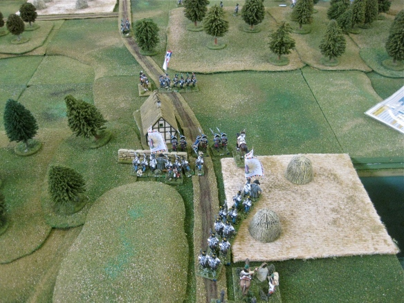 The Austrian reinforcement columns form column or linear formations as the French DB legere battalion departs.
