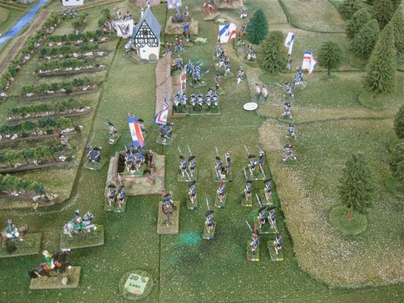 GD Meynier and GB La Salcette infantry sieze the left flank redoubt and press forward into the main Austro-Sardinian position.