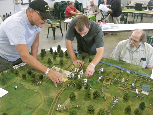 Frenchmen Fred watches as the Austrian duo (John and Daniel) march their Austrian battalions forward.