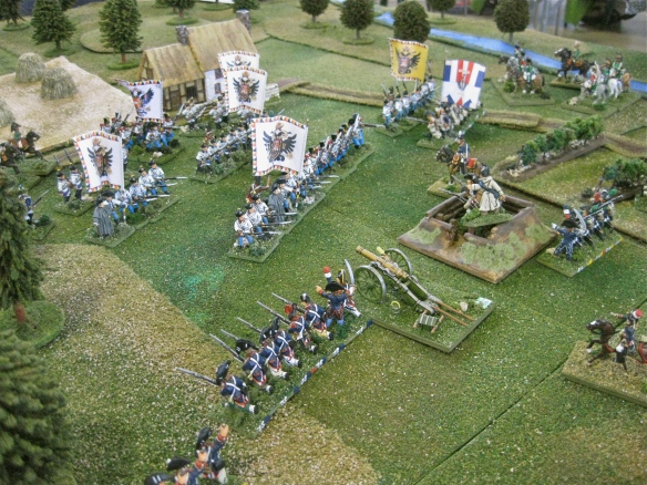 The French defensive line attempts to hold the Austrian attack. The French cannoniers have fled leaving the French demi-brigade infantry.