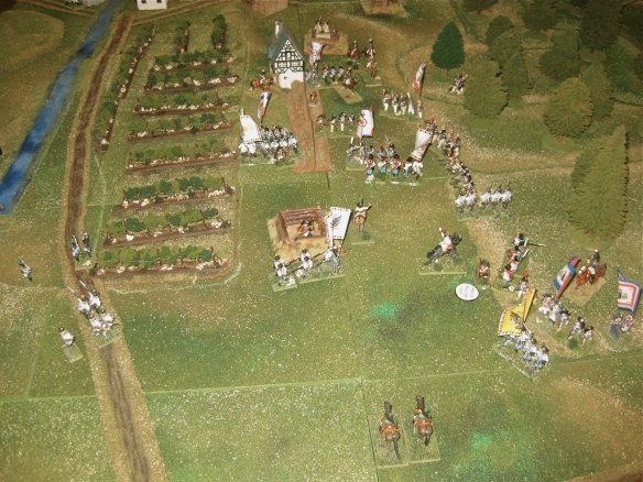 Weakened by French volleys and skirmisher fire, the Austrian battalion start to give ground and with no hope of securing any victory conditions elect to disengage (with additional losses) and march or rout away from the battered French.