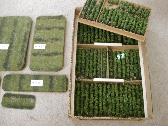 Storage box of my vines and underlying terrain mats. The storage box is a cut down apple box, from the local market with glued cardboard inserts.