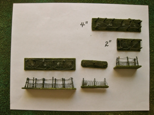 "Barbwire created in 4"" or 2"" tabletop terrain lengths."