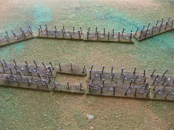 Sample use of the barbwire on my terrain board. Could be either single or multiple density rows.