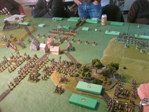 Another view showing the French right flank. Those two un-deployed wooden blocks are advancing infantry divisions.