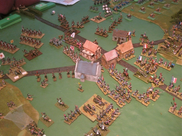 French and Russian columns start the town building to building battles as French artillery supports on the outskirts.