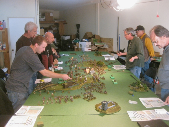 General table length view of the action. Greg appears in the French commander ranks at right. 20x6 foot gaming table.