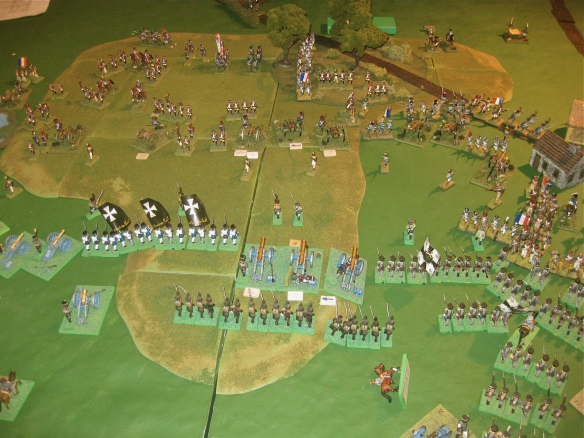 French start to push against the Prussian right trying to support the Russian center.