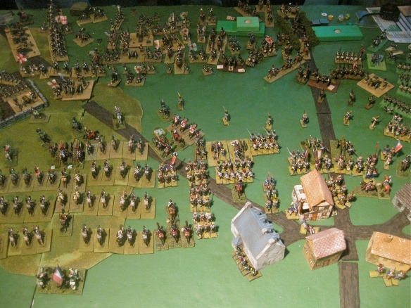 Game ending as the Russo-Prussian alliance see the up coming Grand French advance and call the game. Massed French charging cavalry and combined arms infantry and artillery will push the center Allies off the tabletop.