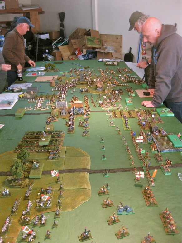 Table length view of the current action and armies. The agressive French advance has positioned the Grand Alliance near to their back table edge and restricts some of their movement options. Some Italian are seen in lower left corner of photo.... Viva WR!