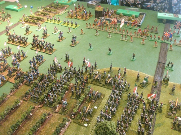 WR's Italians have arrived and prepare to advance against the British thin red infantry lines. French 1806 under Bob's support their left against some British/Portuguese cavalry.