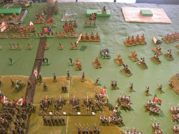 While WR's Italian infantry form defensive squares, Daniel's Italian cavalry slowly trots forward to engage the vaunted British cavalry. Deployed Italian artillery bombards the distant British infantry line.