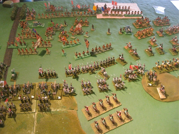 Daniel's Italian infantry forms linear formations, chasing away the weak British skirmishers while his cavalry faces off against the British cavalry. Artillery continues to weaken the British front lines as Paul attempts to flank march his infantry.