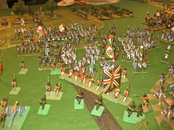 Italians assault the British line as Portuguese cavalry retires before the bayonets of the Italian infantry.