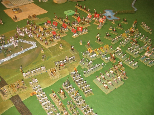 Stalemate, except for a small Polish cavalry charge (see the clear template on table), on the Polish and Austrian battlefront. the scenario is being won by the French against the British sector.