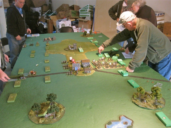 Initial deployment of wooden blocks. Note that two Allied and one French (the Danish) were forward deployed at scenario start. Allies at right, French on left in photo.