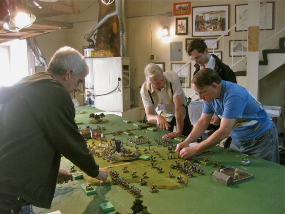 Mark (French) was a new player for the day so WR giving Chief of Staff tips. Dan maneuverers his French on the left flank as Bob positions his English cavalry.