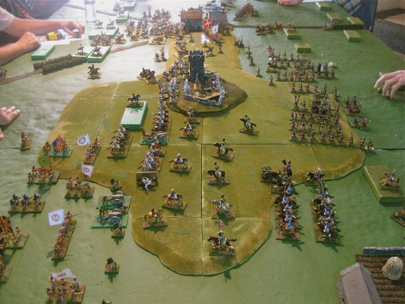 Opposite view with English and Russians on left and French on right. English cavalry is contesting the French advance.