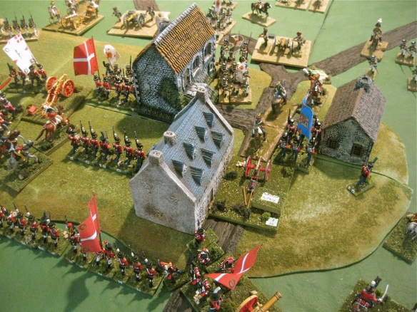 Town fighting... an austrian Chevauleger regiment charged down the road past occupied buildings, past a Danish square and overran a Danish 3lb battery.