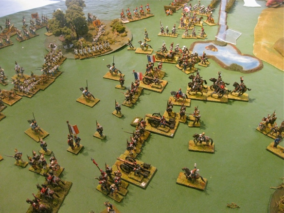 Rob's French, with Vistula legion in distance, bombard Greg's static Austrian lines.