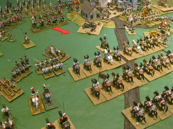 Russian Kuirassiers, with leader out front, see the charging Danish cavalry. But wait, the allied artillery is morale disordered and those Danish mean business....
