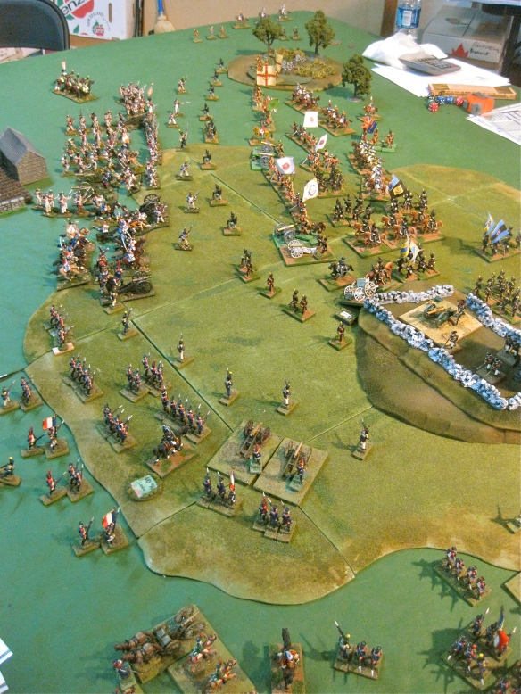 While Mark's infantry reform their formations, Dan's French approach the English lines in distance.