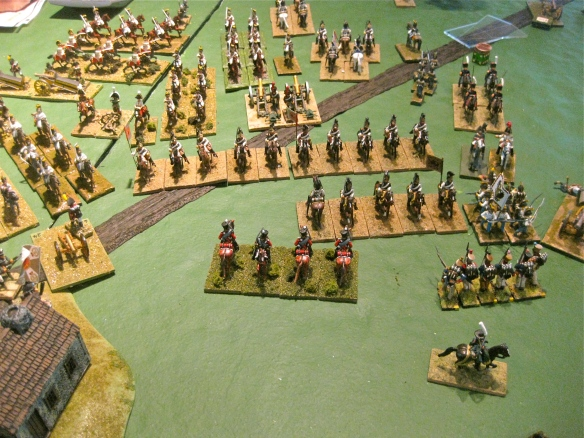 Danish cavalry charges home. Defeating the first ranks of the Russian kuirassiers, the fleeing Kuirassiers caused morale test to their supportive kuirassier ranks. Failing their test, they fell into morale disorder just before the second wave of Danish cavalry impacted.