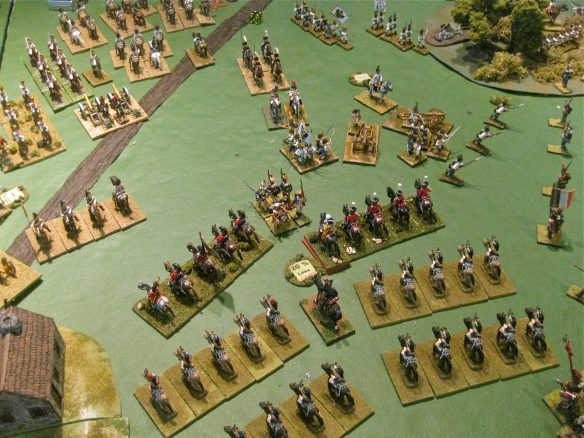 With the front ranks of the Russian kuirassiers defeated, the second wave of Danish heavy cavalry charge and carve apart disordered Austrian infantry, artillery and the remaining Russian kuirassiers.