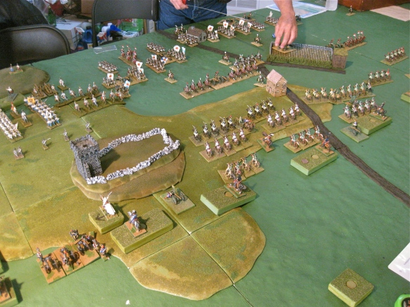 On the French right flank massed light cavalry prepare to charge the screening Russian light cavalry and horse artillery. Bavarian blocks, deployed into battle mode, approach the hill tower position. Austrian face off against the Bavarians.