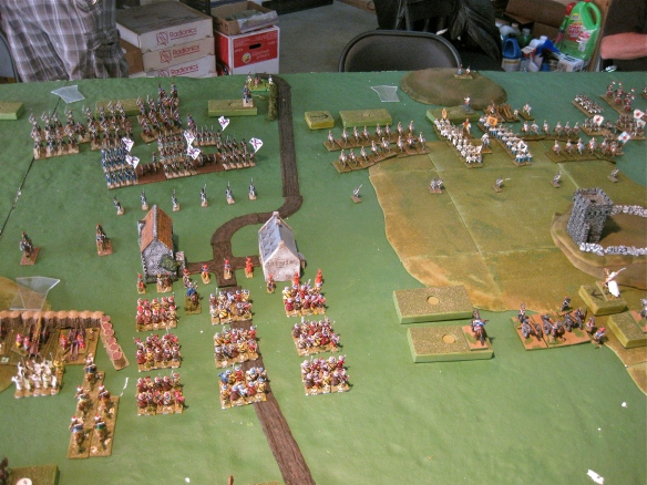 Back in the center the Bavarians (blocks) and the Ottomans get to dance with Tim's new Spanish and Andy's Austrians. Seems the Bavarians have a Bedouin cavalry screen before them.
