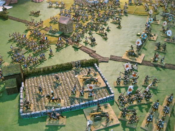 Russian view of the advance French columns. Slowly Ty is being forced to retire... not to far as the table edge looms.