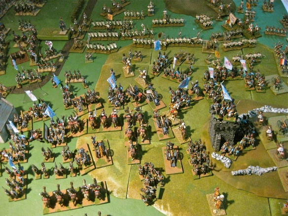 Bavarian chevaulegers ride forward to prepare their charge against the Austrian lines. Where are the Austrian battalion masses or squares?