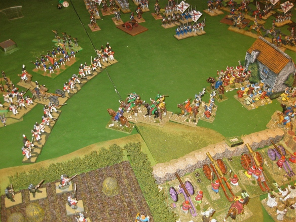 "After a ""pump fake"" charge, the English infantry laughs at the Ottoman light cavalry."