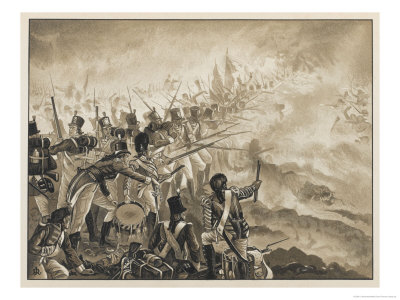 The 28th Foot fighting back to back during the early morning battle near the roman ruins.