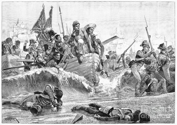 British sailors land the British army on the shores of Aboukir bay.