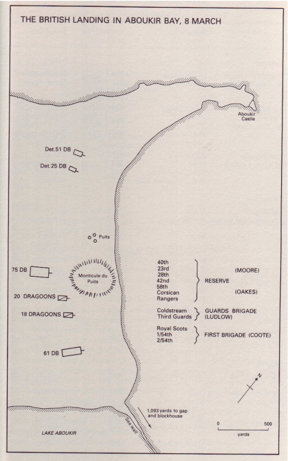 Battle of Aboukir March 1801 landing map (Piers Mackesy book)