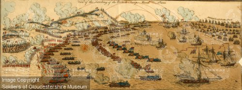 The British landings at Aboukir bay. The organized lines of boats, controlling craft and signals seen in this period print.