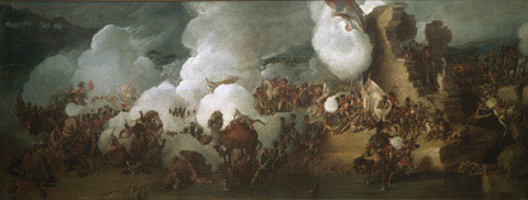 Clouds of smoke as the roman ruin defenders repulse another French assault.