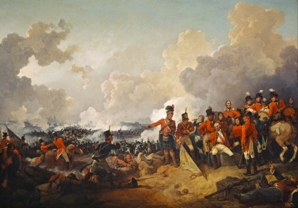Wounded Abercromby at the battle of Alexandria March 1801 as the British infantry fights in the distance. A 42nd Highlander and unknown soldier presents the captured 21st DB Legere standard.