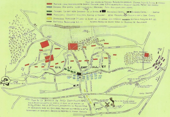 Another Battle of Gilly 1815 map showing basically the same positions and battle movements.