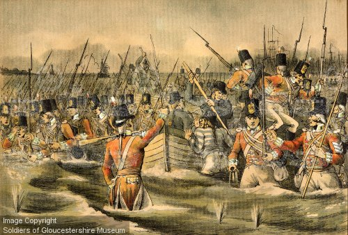The British 28th Foot (Gloucestershire) arrive on the shoreline as part of the first wave of boats.