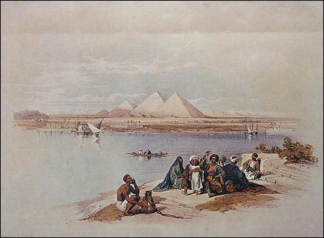 Nile view of the Pyramids.