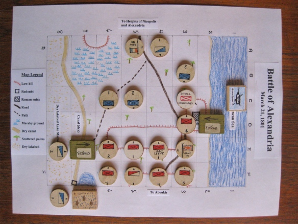 Battle of Alexandria 1801 scenario map with map counters showing starting command dispositions.