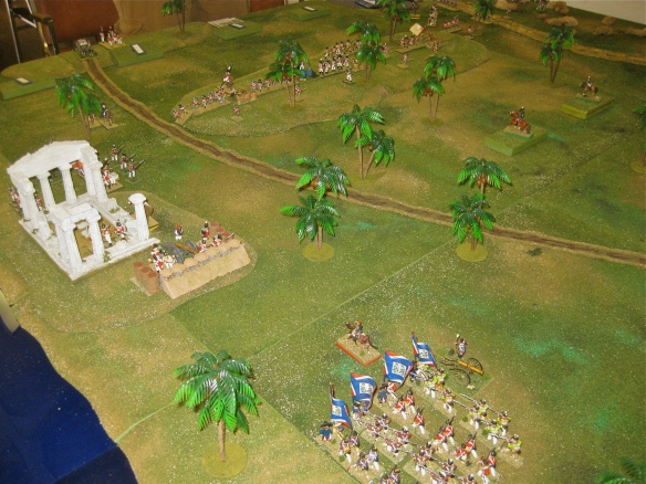 French Division Lanusse in foreground ready to start the pre-dawn assault on the roman ruins. Other British brigades (l to r; Guard, 1st then 2nd) line the central low hill.