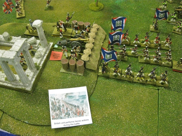 During the British half turn, they willy British play their heroic unit event card increasing the British 28th Foot morale and combative abilities. the French caught napping.