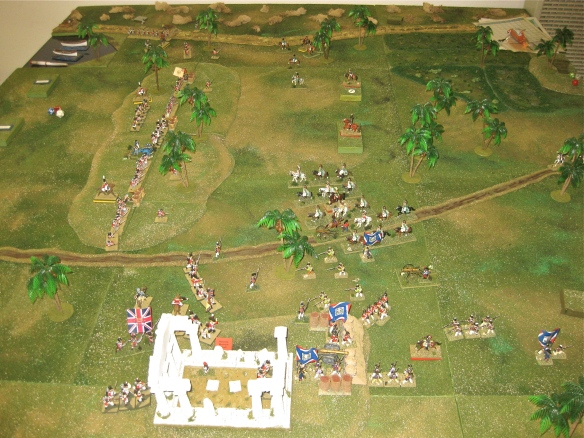 General view after the 1st turn of movement and combat. British line the central hill as the French infantry holds back pending the assault on the roman ruins.