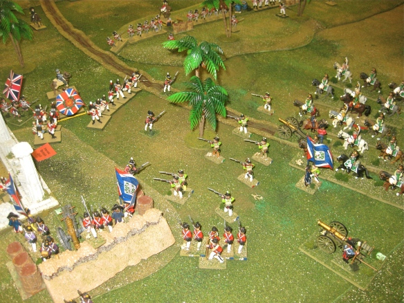 The French occupy the redoubt as their dragoon Division advances into the gap with skirmishers.