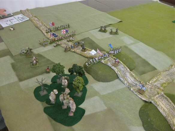 Battle of Cowpens 1781 using Flint and Steel rules 28mm. the British forces arrive confronted by the American militia.