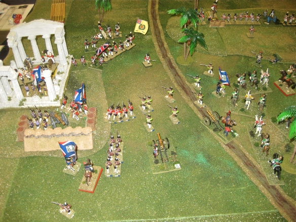 As General Moore rallies his defenders in the ruins, his infantry reposition to defend the flank of the ruins.